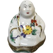 Beautiful Signed Limoges Buddah Trinket Box Hand Painted