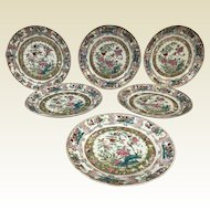 Set of 6 Fine 19th Century Chinese Porcelain Rose Medallion Dinner Plates
