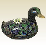 Chinese Cloisonne Covered Box in Form of Duck With beautiful enameled colors