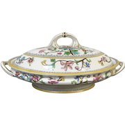 Royal Worcester Covered Tureen Hand Enameled Flower Decorated