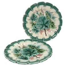 Pair of French Sarreguemines Majolica Plates W/ Grape Vine Decoration