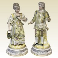 Pair of Large Dresden Porcelain Figurine of Young Couple