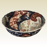 Japanese Porcelain Imari Bowl With Flying Crane Decoration