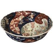 Japanese Porcelain Imari Bowl With Flying Crane Decoration