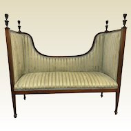 Antique Mahogany Banded Inlay Window Settee