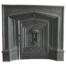 Victorian Cast Iron Fire Place W/ Roman Figure Back Panel