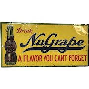 1920's Nugrape Soda Pop Metal Store Advertising Sign -robertson Steel Co