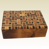 Vintage Woven Style Marquetry Valuable Trinket Box