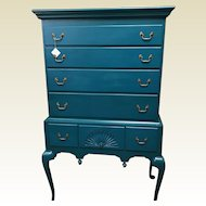 Queen Anne Style Maple Highboy in Emerald Green