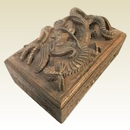 Vintage Chinese Wooden Box W/ High Relief Carved Dragon & Secret Mechanical Lock
