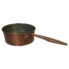 Antique 18th Century Copper Pot Tin Lined Rolled Edge