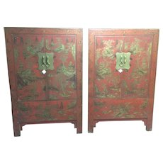 Pair of Large Antique Chinese Matching Cabinets