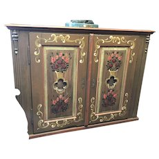 19th Century French Cabinet Pie Safe Hand Painted