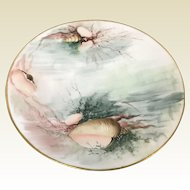 Hand Painted Limoges Plate With Sea Oyster Shell Decoration