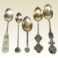 Group of 5 Chinese Export Silver Teaspoons