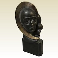 Signed H. S. Miller Bronze Art Deco Sculpture of Woman Bust