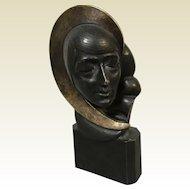 Signed H. S. Miller Bronze Art Deco Sculpture of Woman Bust