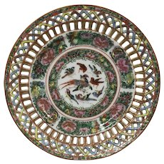 Antique Chinese Porcelain Famille Rose Medallion Reticulated Plate
