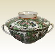 Chinese Porcelain Rose Medallion Bouillon Cup With Lid Bamboo Handle 6 available
