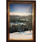 Michael McGovern Signed Vermont Stowe Village Framed Painting Oil on Linen