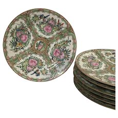 "Set of 7 Chinese Porcelain Rose Medallion 8.5"" Plates"