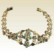18k Yellow Gold Filigree Bracelet W/ Turquoise & Black Pearl W/ European HallMark