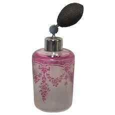 Saint Lambert Cameo Acid Etched Perfume Atomizer Pink to Clear