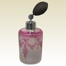 Saint Lambert Cameo Acid Etched Perfume Atomizer Pink to Clear