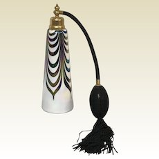DeVilbiss Iridescent Art Glass Black & White Pulled Feather Perfume Atomizer