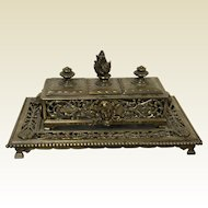 Large Victorian Era Footed Inkwell Stand w/ Lion Heads & Flame