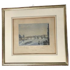Circa 1830 Aquatint Etching of Berlin Bridge