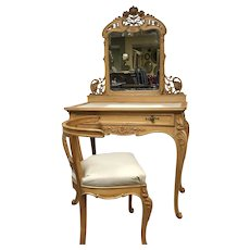 French Rococo Vanity Desk W/ Fine Sunflower Carving & Matching Chair