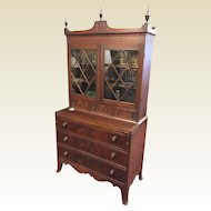 Circa 1810 Hepplewhite Mahogany Inlaid Glass Door Secretary Desk
