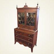 Circa 1810 Hepplewhite Mahogany Inlaid Glass Door Secretary Desk