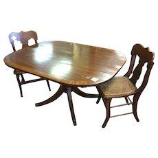 19th Century English Mahogany Banded Tilt-Top Dining Breakfast Table Duncan Phyfe Leg