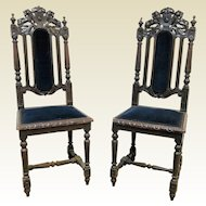 19th Century French Gothic Hunting Chair W/ Lion Crest (4 available)