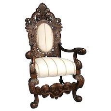 Antique Continental Renaissance Revival High Back Throne Chair