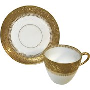 Heavy Gold Decorated Limoges Demitasse Cup & Saucer (4 available)