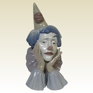 "Lladro ""Jester Clown"" With Base #5129, Magnificent Large Sculpture"