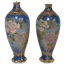 Pair of Antique Japanese Satsuma Vases With Flower Decoration Blue Background