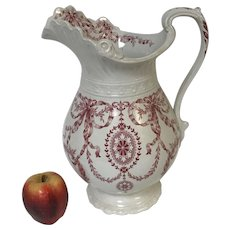 Large Antique English Porcelain Dudson Wilcox Till Red Transferware Pitcher
