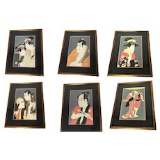 Group of 6 Framed Vintage Reproduction Sharaku Woodblock Prints