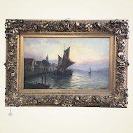 Italian 19th Century Oil on Canvas Signed V Comelli - Ship, Boat,  Harbor,