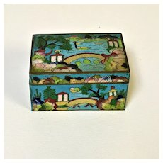 Vintage Chinese Cloisonne Trinket Box W/ Unusual Decoration of Boat Bridge Lake