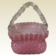 Antique Victorian Art Glass Stevens and Williams Thorn Pink Cased Handled Basket