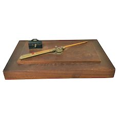 1920's Wooden Trinket Valuable Cigar Cigarette Box W/ Fishing Rod & Tackle Box