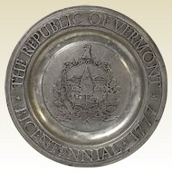 The Republic Of Vermont Bicentennial Pewter Metal Craft Plate