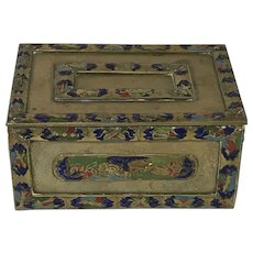 Vintage Chinese Brass Champleve Trinket Valuable Box
