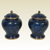 Pair of Chinese Cloisonne Covered Jar Vases Blue Flower Decorated