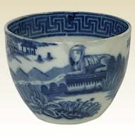 Rare 19th Century Blue Staffordshire Tea Cup With Pyramid Sphinx & Blue Willow